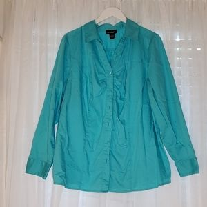 Lane Bryant Teal Button Down